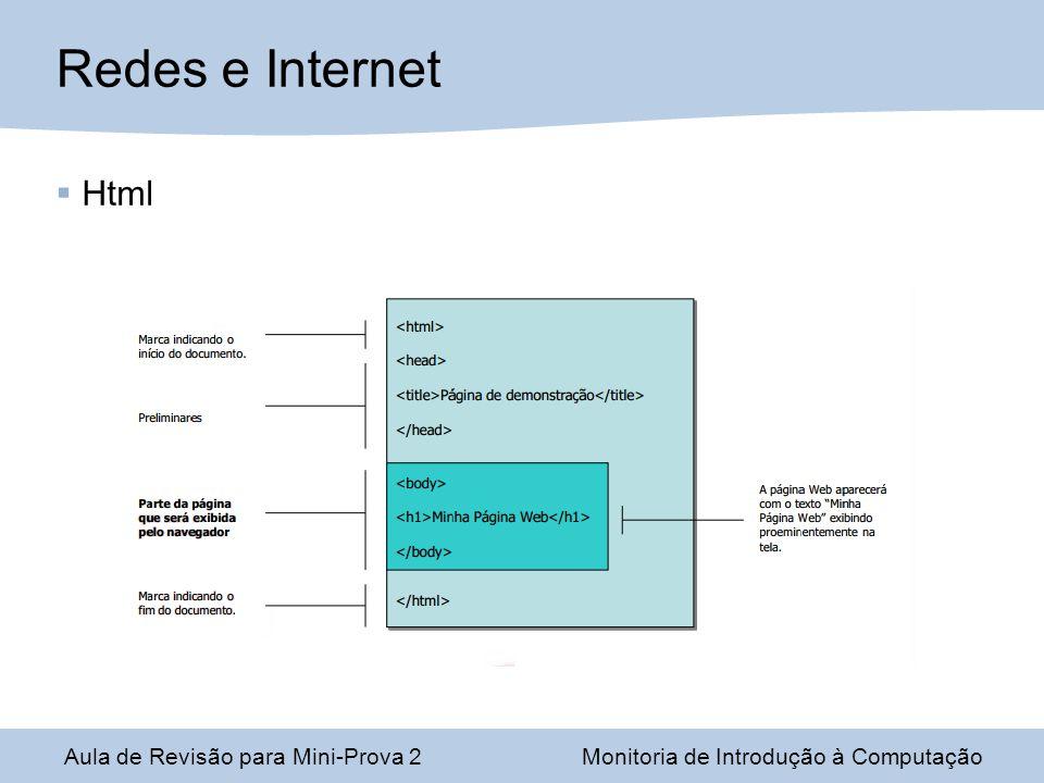 Aula de Revisão para Mini-Prova 2Monitoria de Introdução à Computação Redes e Internet Html