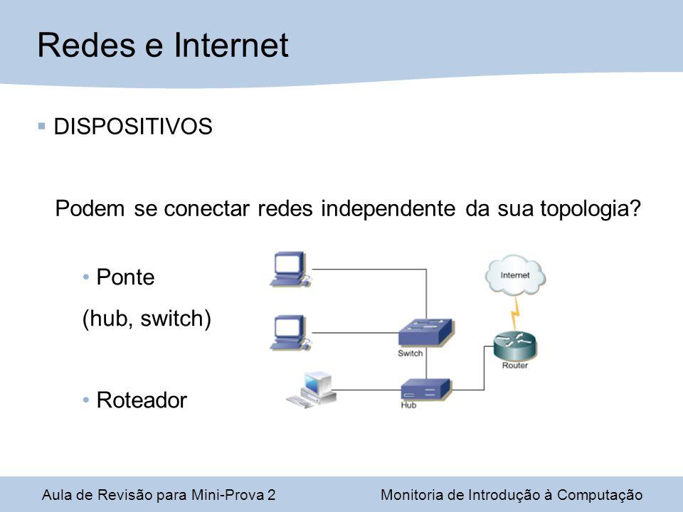 Aula de Revisão para Mini-Prova 2Monitoria de Introdução à Computação Redes e Internet DISPOSITIVOS Podem se conectar redes independente da sua topologia.