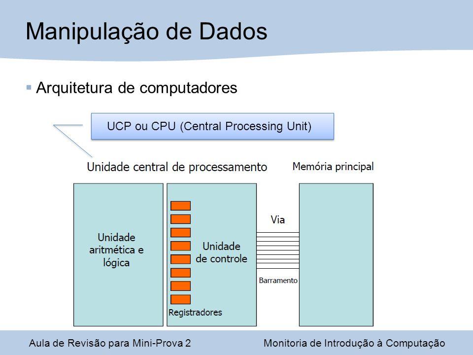 Aula de Revisão para Mini-Prova 2Monitoria de Introdução à Computação Manipulação de Dados UCP ou CPU (Central Processing Unit) Arquitetura de computadores