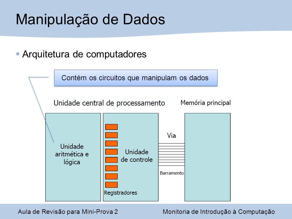 Aula de Revisão para Mini-Prova 2Monitoria de Introdução à Computação Manipulação de Dados Contém os circuitos que manipulam os dados Arquitetura de computadores