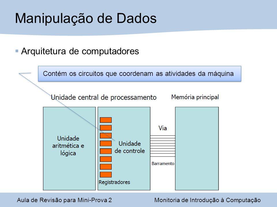 Aula de Revisão para Mini-Prova 2Monitoria de Introdução à Computação Manipulação de Dados Contém os circuitos que coordenam as atividades da máquina Arquitetura de computadores