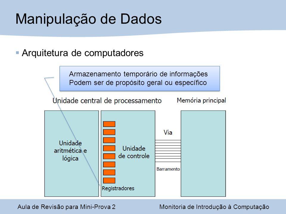 Aula de Revisão para Mini-Prova 2Monitoria de Introdução à Computação Manipulação de Dados Armazenamento temporário de informações Podem ser de propósito geral ou específico Arquitetura de computadores