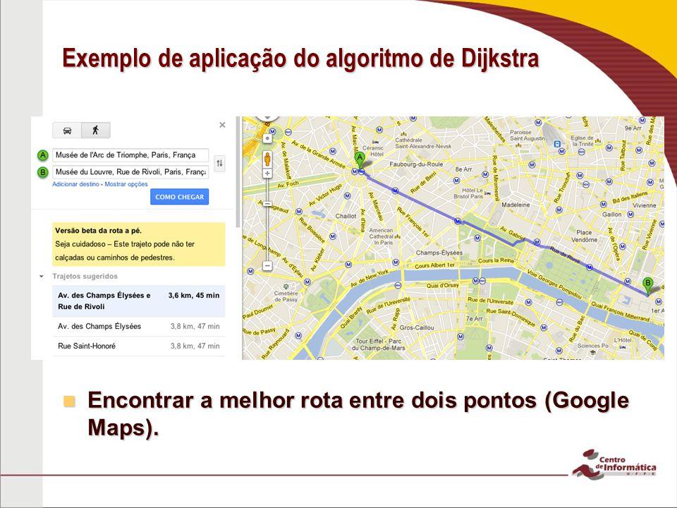 Exemplo de aplicação do algoritmo de Dijkstra Encontrar a melhor rota entre dois pontos (Google Maps).