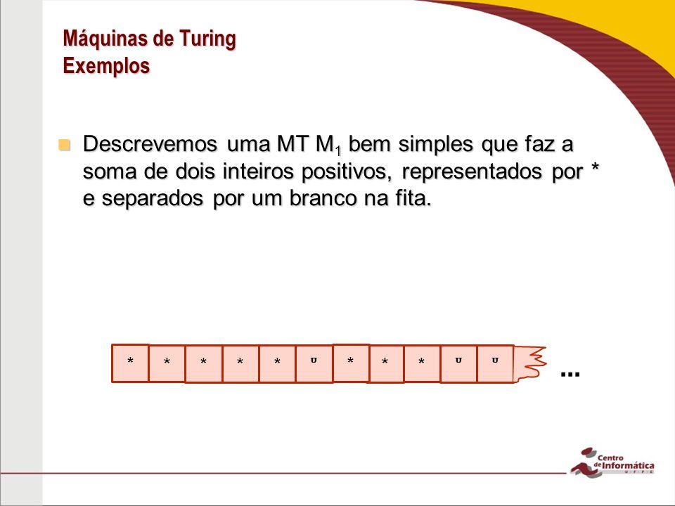Máquinas de Turing Exemplos Descrevemos uma MT M 1 bem simples que faz a soma de dois inteiros positivos, representados por * e separados por um branc