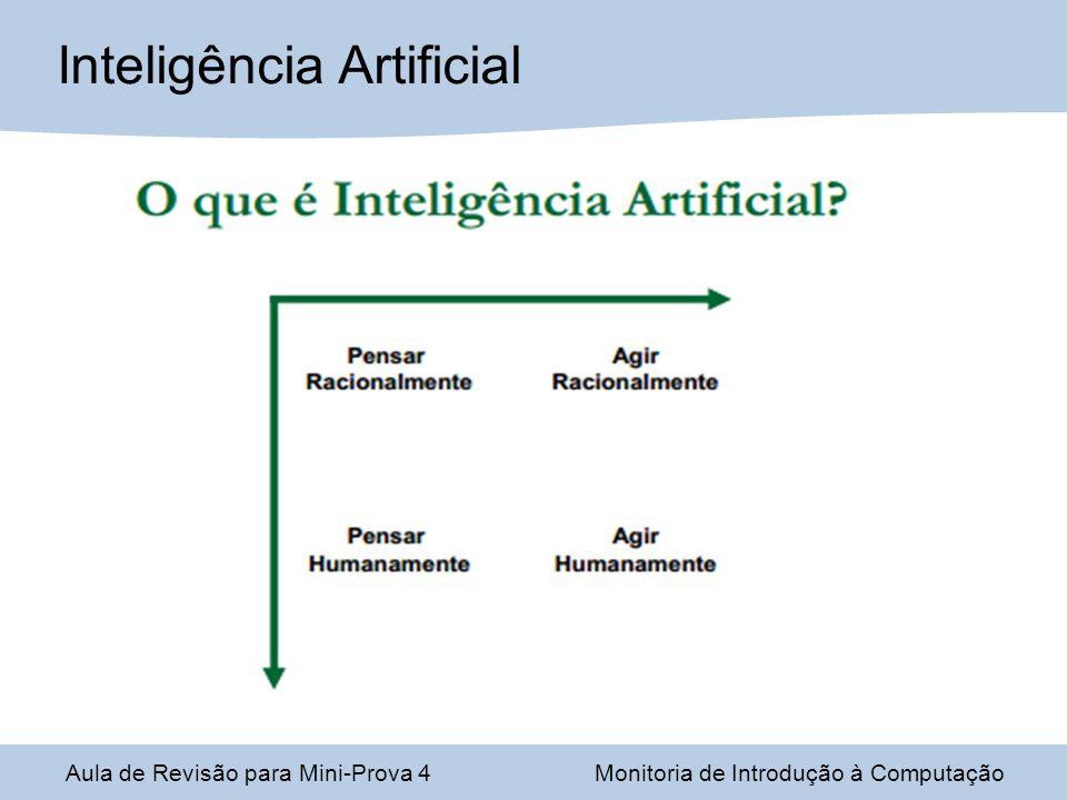Aula de Revisão para Mini-Prova 4Monitoria de Introdução à Computação Inteligência Artificial