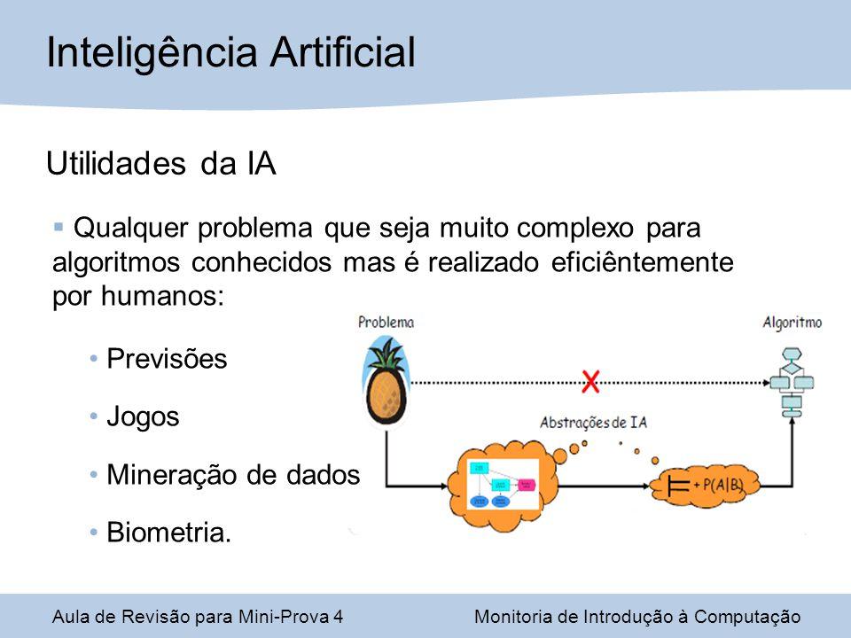 Aula de Revisão para Mini-Prova 4Monitoria de Introdução à Computação Inteligência Artificial Utilidades da IA Qualquer problema que seja muito complexo para algoritmos conhecidos mas é realizado eficiêntemente por humanos: Previsões Jogos Mineração de dados Biometria.
