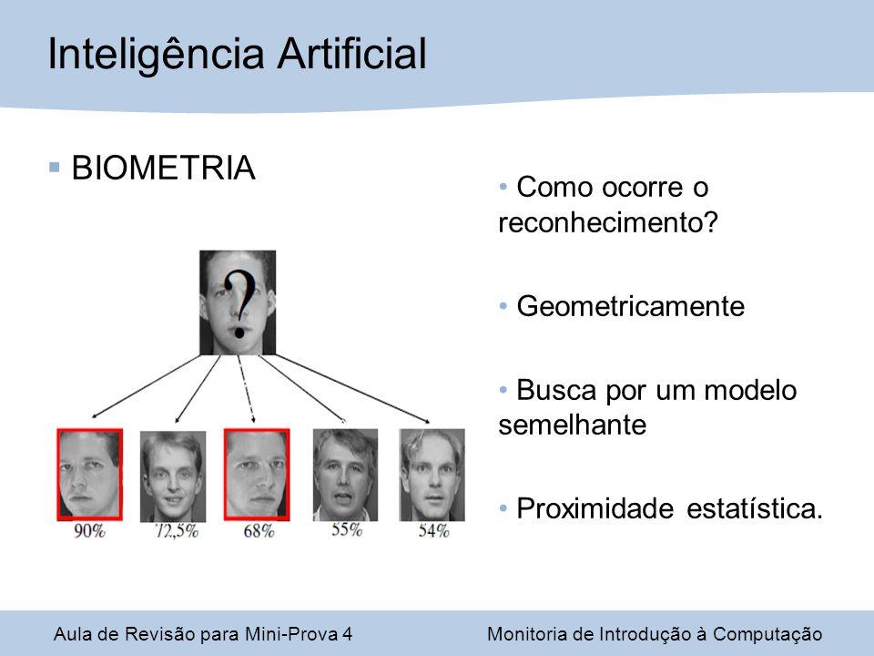 Aula de Revisão para Mini-Prova 4Monitoria de Introdução à Computação Inteligência Artificial BIOMETRIA Como ocorre o reconhecimento? Geometricamente