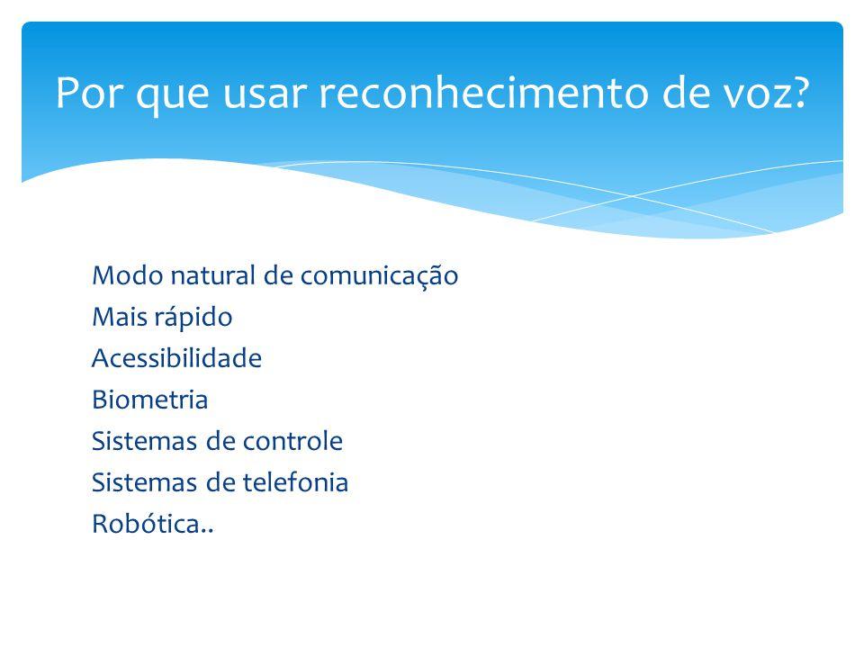 Modo natural de comunicação Mais rápido Acessibilidade Biometria Sistemas de controle Sistemas de telefonia Robótica.. Por que usar reconhecimento de