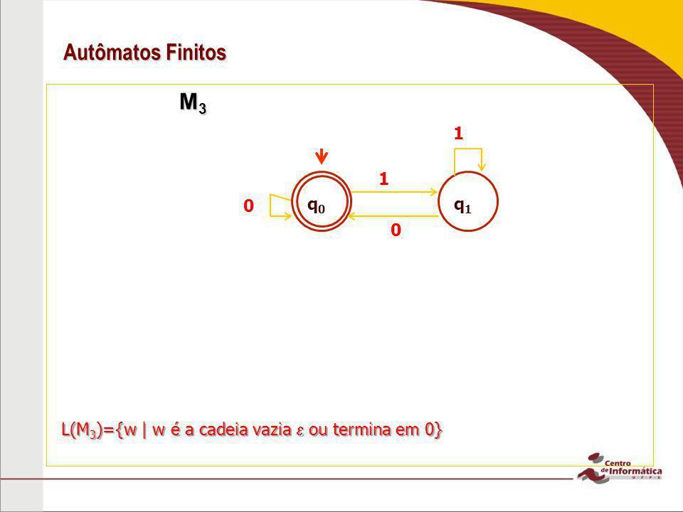 Autômatos Finitos M 3 M 3 0 1 0 L(M 3 )={w   w é a cadeia vazia ou termina em 0} q0q0 q1q1 1
