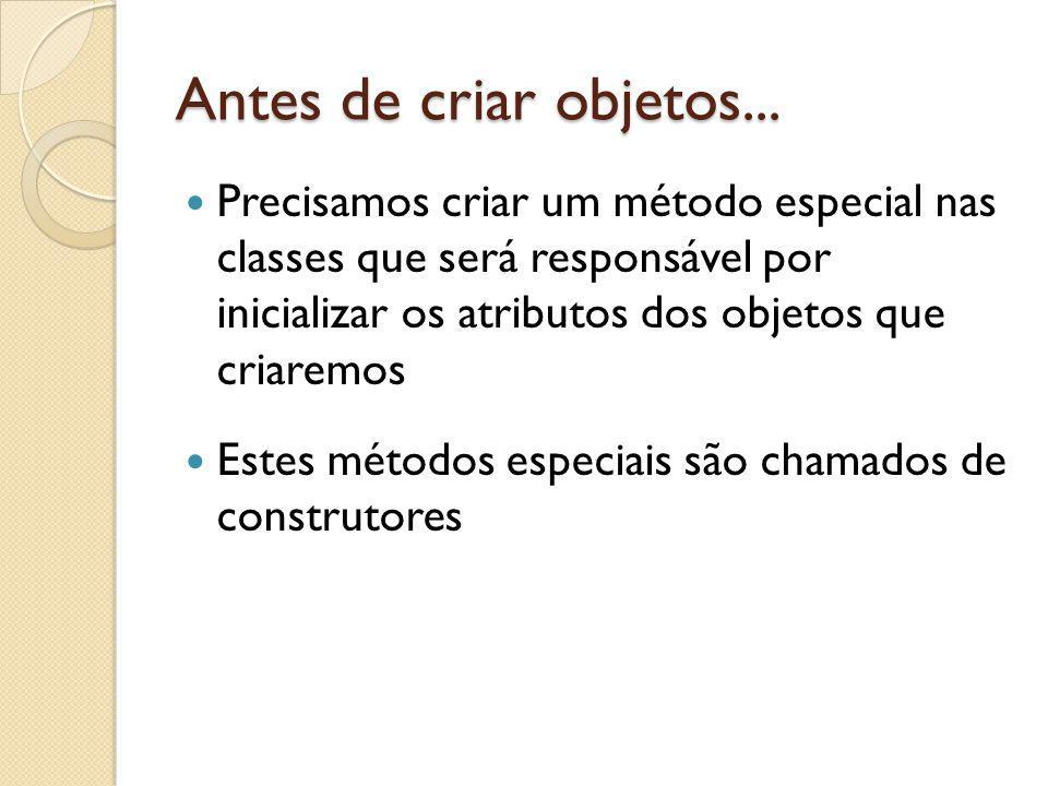 Antes de criar objetos... Precisamos criar um método especial nas classes que será responsável por inicializar os atributos dos objetos que criaremos