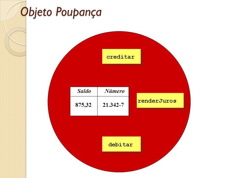 Objeto Poupança Número Saldo 21.342-7 875,32 Creditar creditar debitar Creditar renderJuros