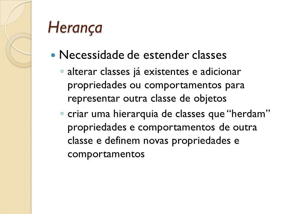 Herança Necessidade de estender classes alterar classes já existentes e adicionar propriedades ou comportamentos para representar outra classe de objetos criar uma hierarquia de classes que herdam propriedades e comportamentos de outra classe e definem novas propriedades e comportamentos