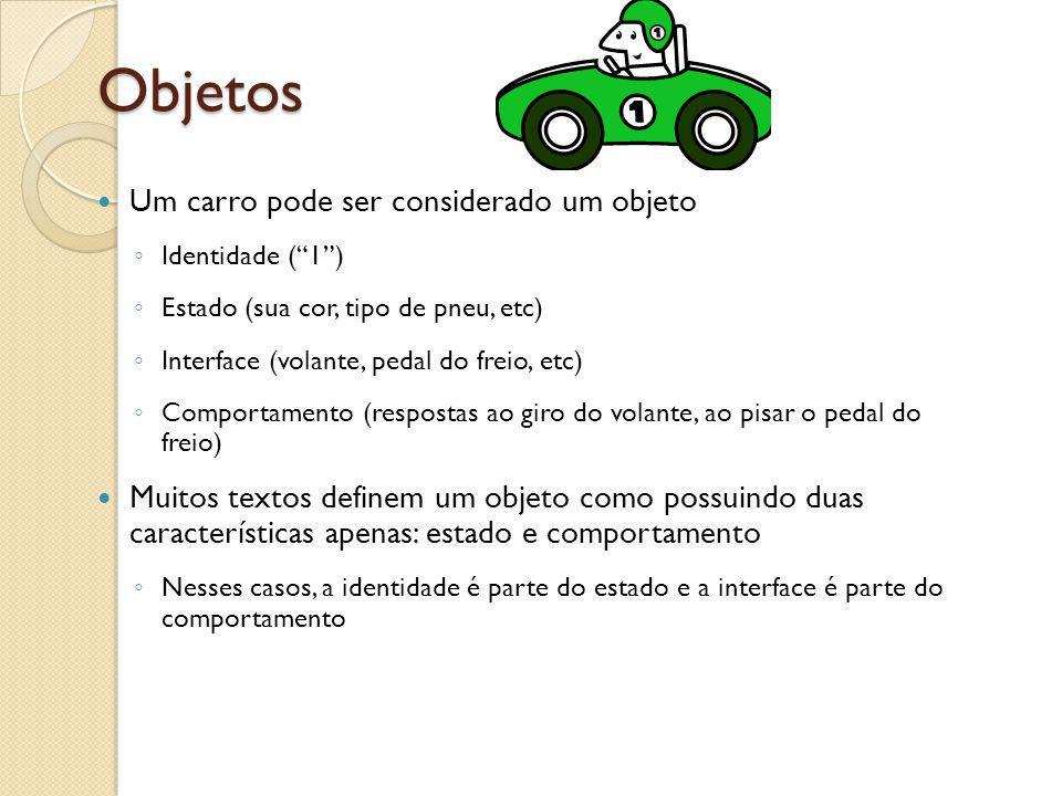 Objetos Um carro pode ser considerado um objeto Identidade (1) Estado (sua cor, tipo de pneu, etc) Interface (volante, pedal do freio, etc) Comportame