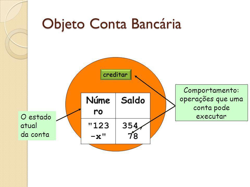 creditar debitar Núme ro Saldo 123 -x 354, 78 Objeto Conta Bancária O estado atual da conta Comportamento: operações que uma conta pode executar