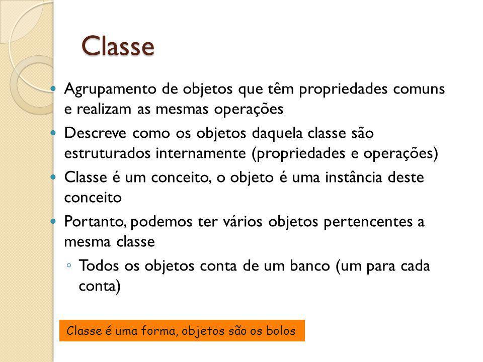 Classe Agrupamento de objetos que têm propriedades comuns e realizam as mesmas operações Descreve como os objetos daquela classe são estruturados inte