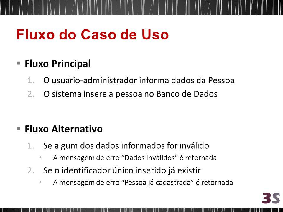 Fluxo Principal 1.O usuário-administrador informa dados da Pessoa 2. O sistema insere a pessoa no Banco de Dados Fluxo Alternativo 1.Se algum dos dado