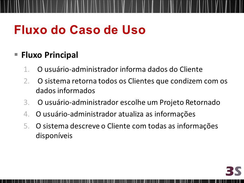 Fluxo Principal 1.O usuário-administrador informa dados do Cliente 2. O sistema retorna todos os Clientes que condizem com os dados informados 3. O us