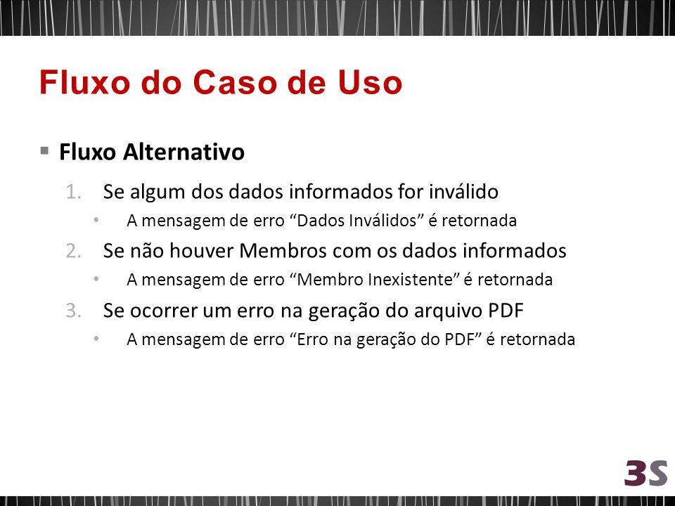 Fluxo Alternativo 1.Se algum dos dados informados for inválido A mensagem de erro Dados Inválidos é retornada 2.Se não houver Membros com os dados inf