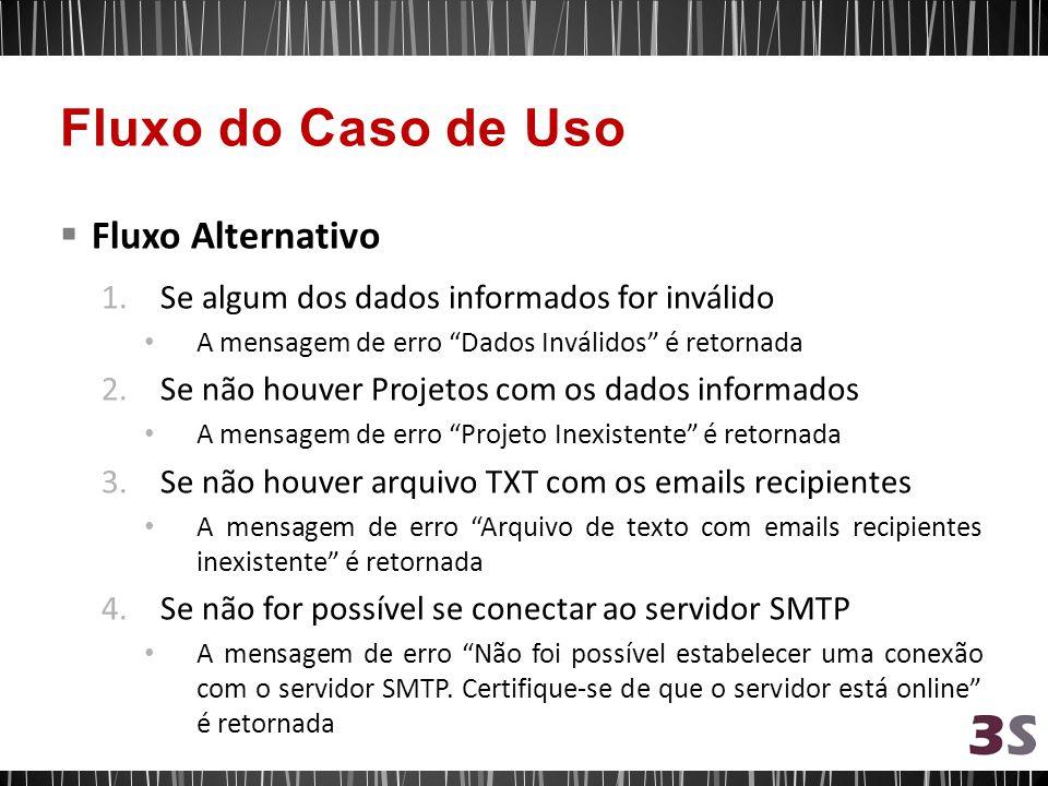Fluxo Alternativo 1.Se algum dos dados informados for inválido A mensagem de erro Dados Inválidos é retornada 2.Se não houver Projetos com os dados informados A mensagem de erro Projeto Inexistente é retornada 3.Se não houver arquivo TXT com os emails recipientes A mensagem de erro Arquivo de texto com emails recipientes inexistente é retornada 4.Se não for possível se conectar ao servidor SMTP A mensagem de erro Não foi possível estabelecer uma conexão com o servidor SMTP.