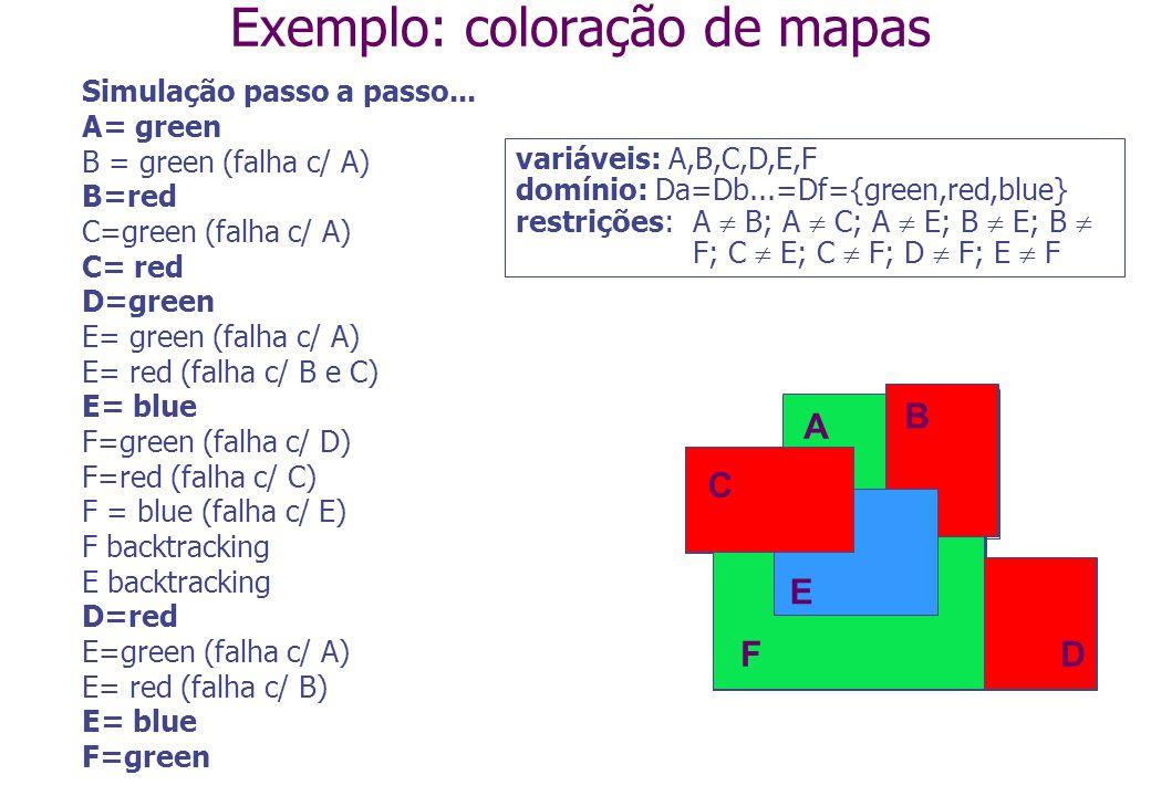 Simulação passo a passo... A= green B = green (falha c/ A) B=red C=green (falha c/ A) C= red D=green E= green (falha c/ A) E= red (falha c/ B e C) E=