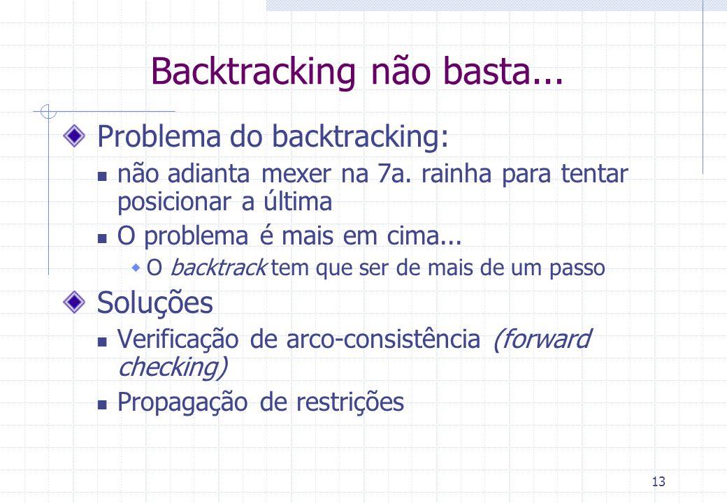 13 Backtracking não basta... Problema do backtracking: não adianta mexer na 7a. rainha para tentar posicionar a última O problema é mais em cima... O