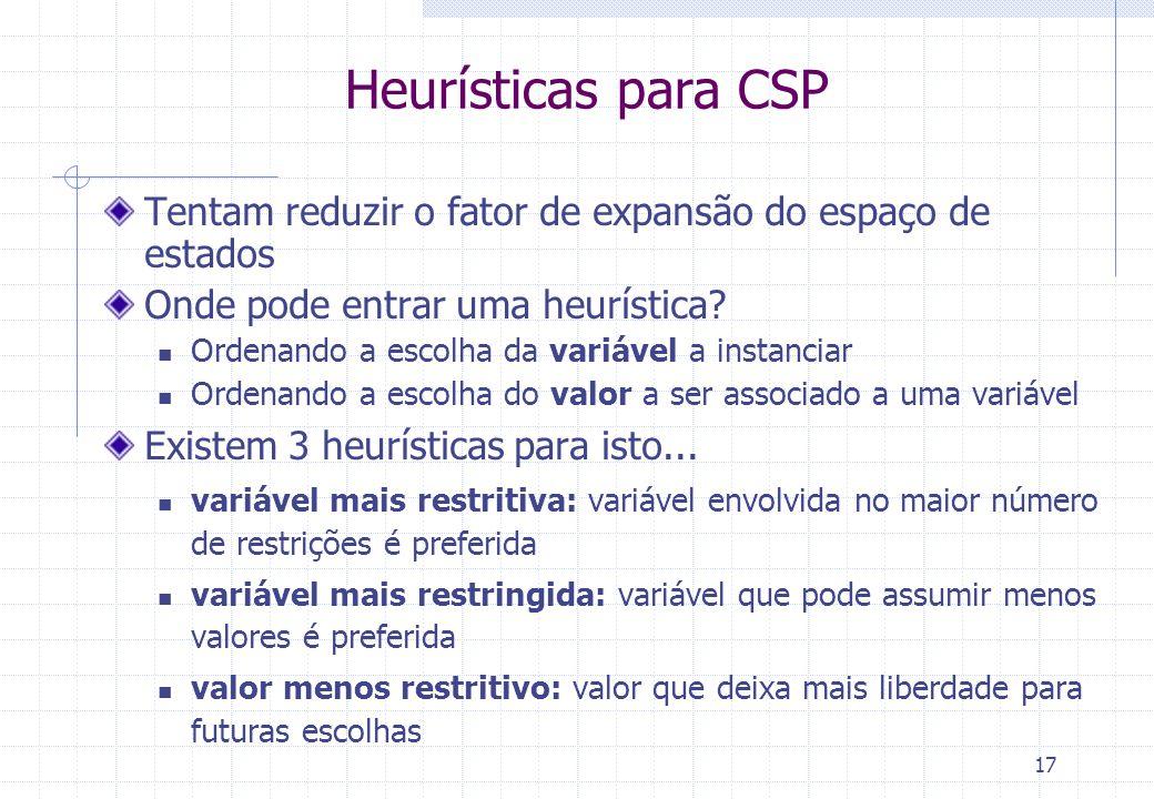 17 Heurísticas para CSP Tentam reduzir o fator de expansão do espaço de estados Onde pode entrar uma heurística? Ordenando a escolha da variável a ins