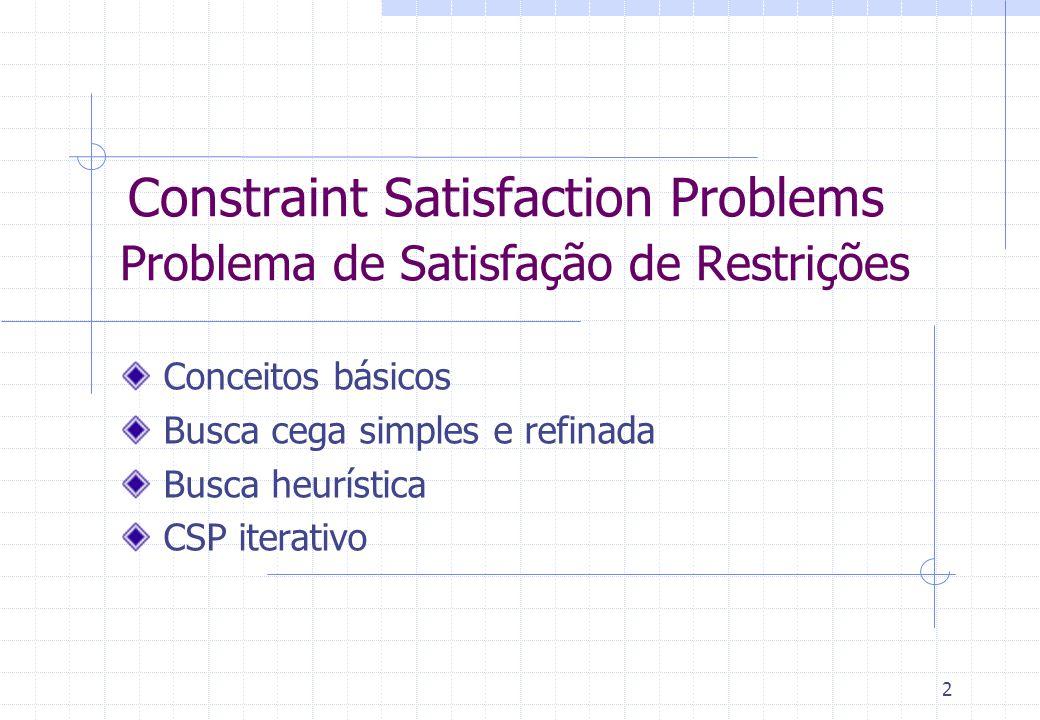 2 Constraint Satisfaction Problems Problema de Satisfação de Restrições Conceitos básicos Busca cega simples e refinada Busca heurística CSP iterativo