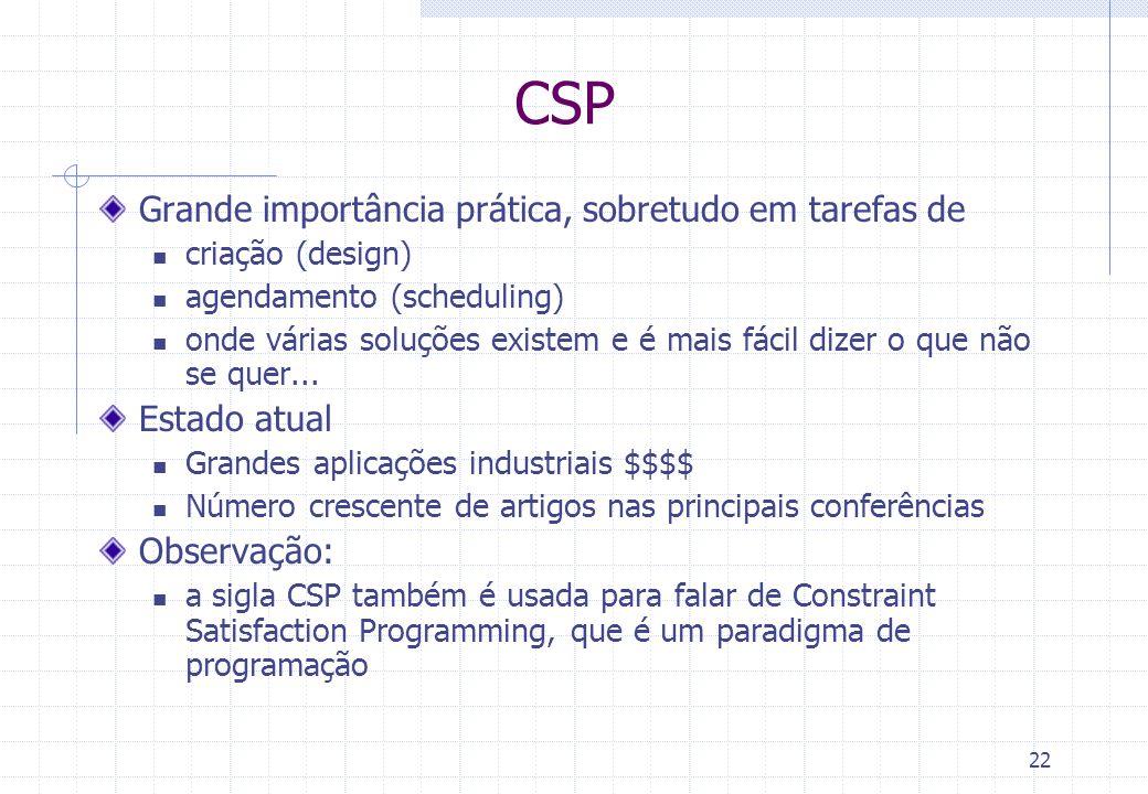 22 CSP Grande importância prática, sobretudo em tarefas de criação (design) agendamento (scheduling) onde várias soluções existem e é mais fácil dizer
