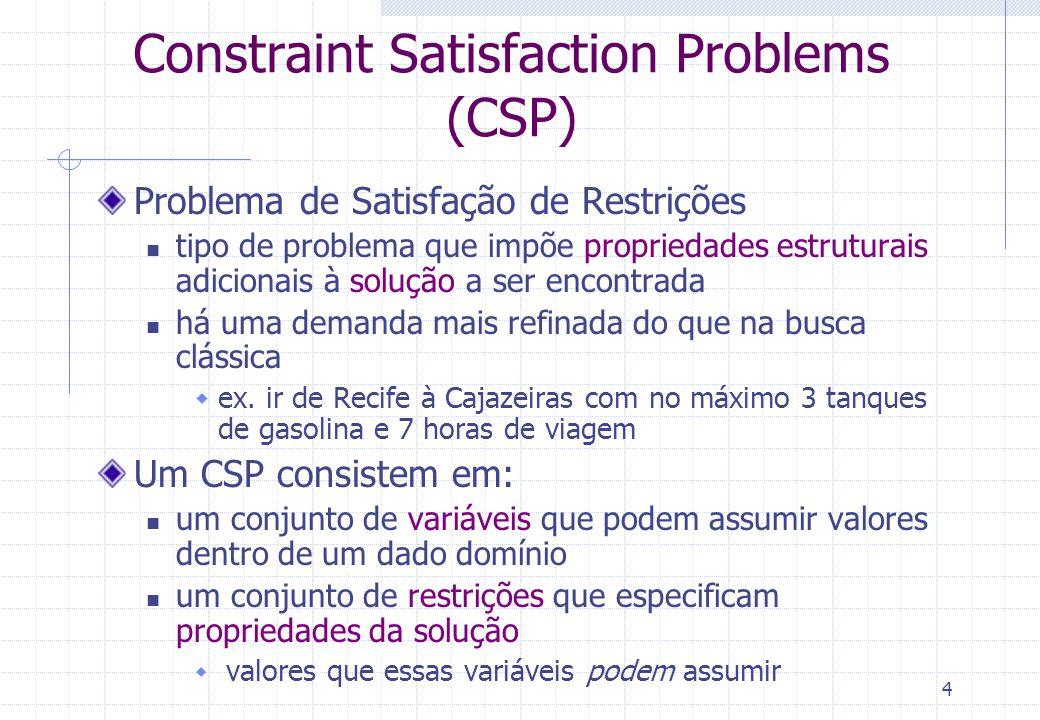 4 Constraint Satisfaction Problems (CSP) Problema de Satisfação de Restrições tipo de problema que impõe propriedades estruturais adicionais à solução a ser encontrada há uma demanda mais refinada do que na busca clássica ex.