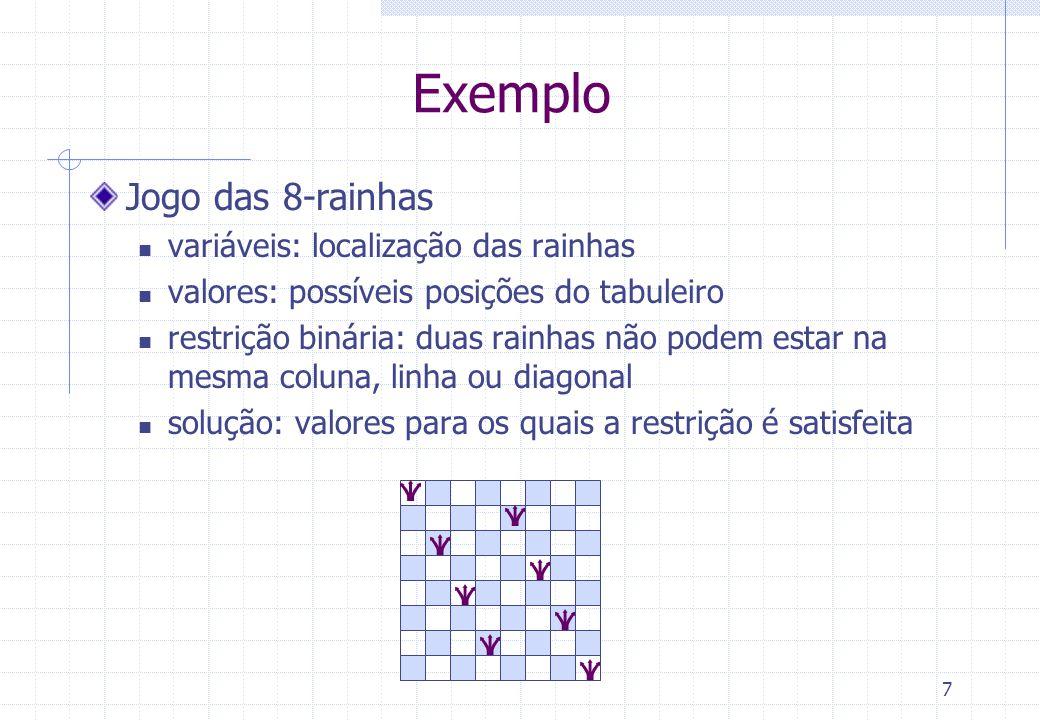 7 Exemplo Jogo das 8-rainhas variáveis: localização das rainhas valores: possíveis posições do tabuleiro restrição binária: duas rainhas não podem estar na mesma coluna, linha ou diagonal solução: valores para os quais a restrição é satisfeita