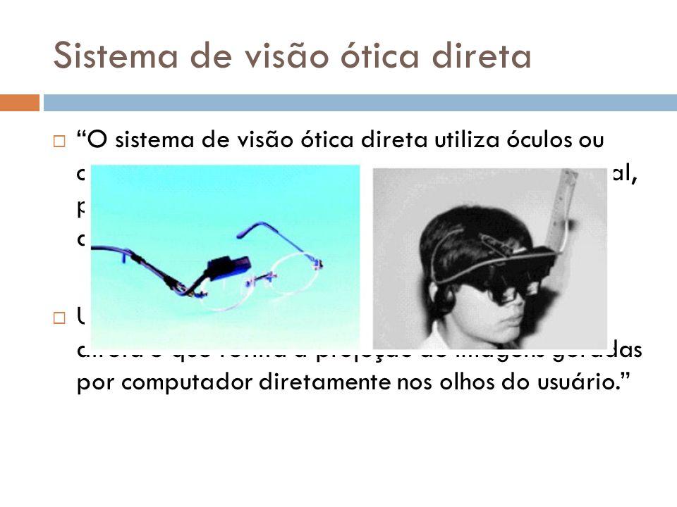 Sistema de visão ótica direta O sistema de visão ótica direta utiliza óculos ou capacetes com lentes que capturam a imagem real, possibilitando a proj