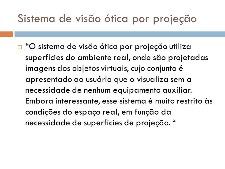 Sistema de visão ótica por projeção O sistema de visão ótica por projeção utiliza superfícies do ambiente real, onde são projetadas imagens dos objeto