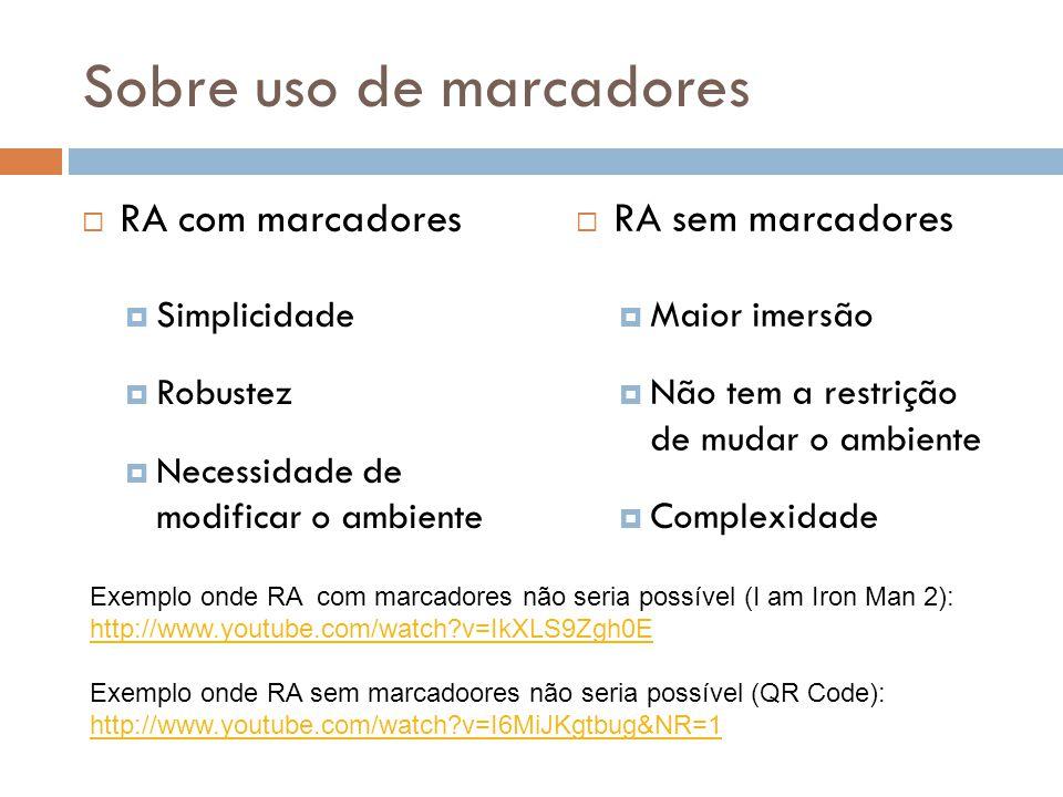 Sobre uso de marcadores RA com marcadores Simplicidade Robustez Necessidade de modificar o ambiente RA sem marcadores Maior imersão Não tem a restriçã
