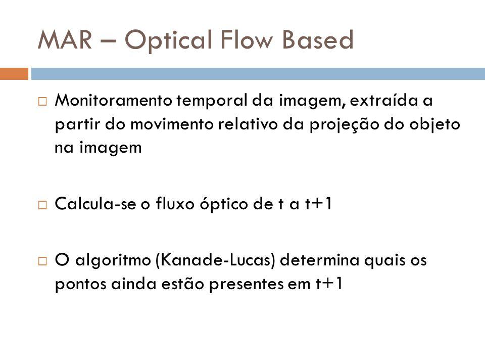 MAR – Optical Flow Based Monitoramento temporal da imagem, extraída a partir do movimento relativo da projeção do objeto na imagem Calcula-se o fluxo