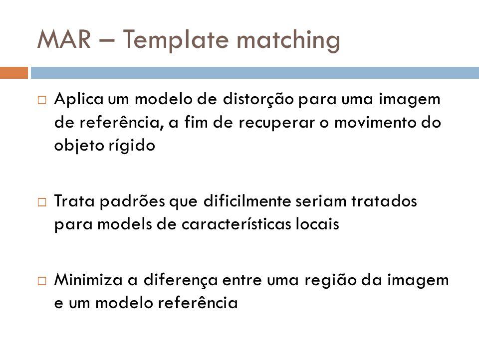 Aplica um modelo de distorção para uma imagem de referência, a fim de recuperar o movimento do objeto rígido Trata padrões que dificilmente seriam tra