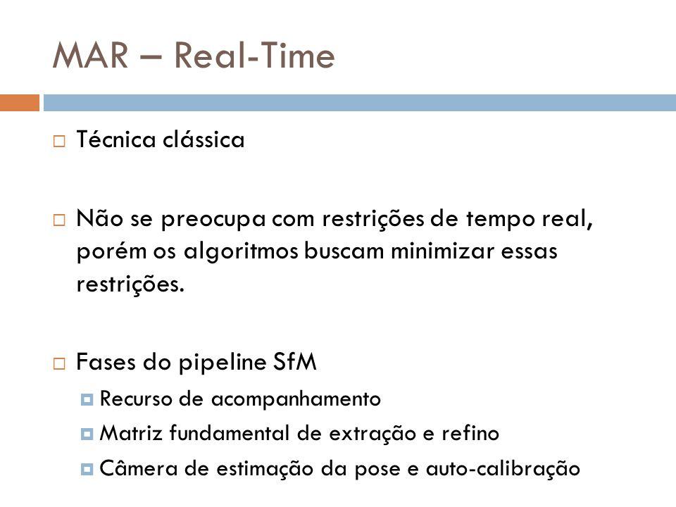 Técnica clássica Não se preocupa com restrições de tempo real, porém os algoritmos buscam minimizar essas restrições. Fases do pipeline SfM Recurso de