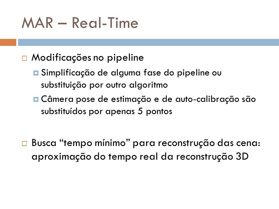 Modificações no pipeline Simplificação de alguma fase do pipeline ou substituição por outro algoritmo Câmera pose de estimação e de auto-calibração sã