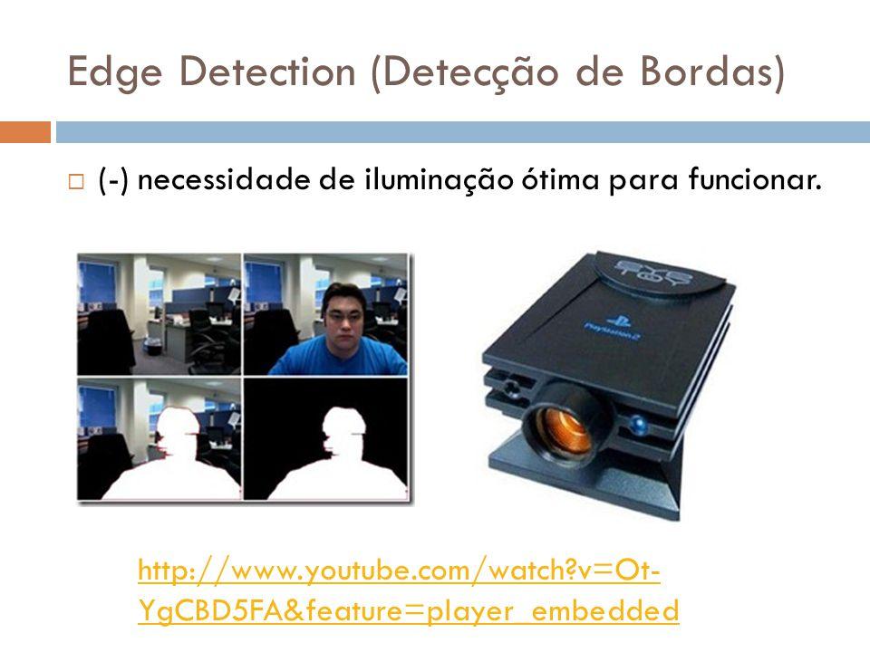 Edge Detection (Detecção de Bordas) (-) necessidade de iluminação ótima para funcionar. http://www.youtube.com/watch?v=Ot- YgCBD5FA&feature=player_emb