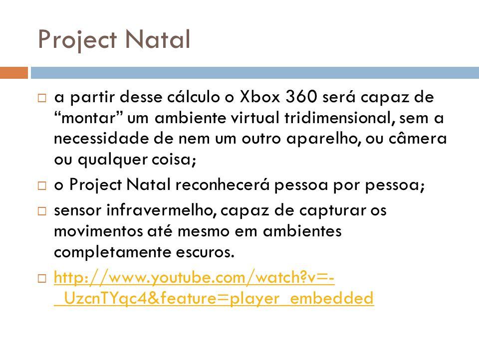 Project Natal a partir desse cálculo o Xbox 360 será capaz de montar um ambiente virtual tridimensional, sem a necessidade de nem um outro aparelho, o