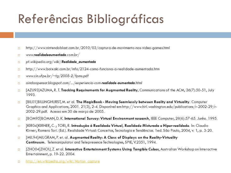 Referências Bibliográficas http://www.nintendoblast.com.br/2010/03/captura-de-movimento-nos-video-games.html www.realidadeaumentada.com.br/ pt.wikiped