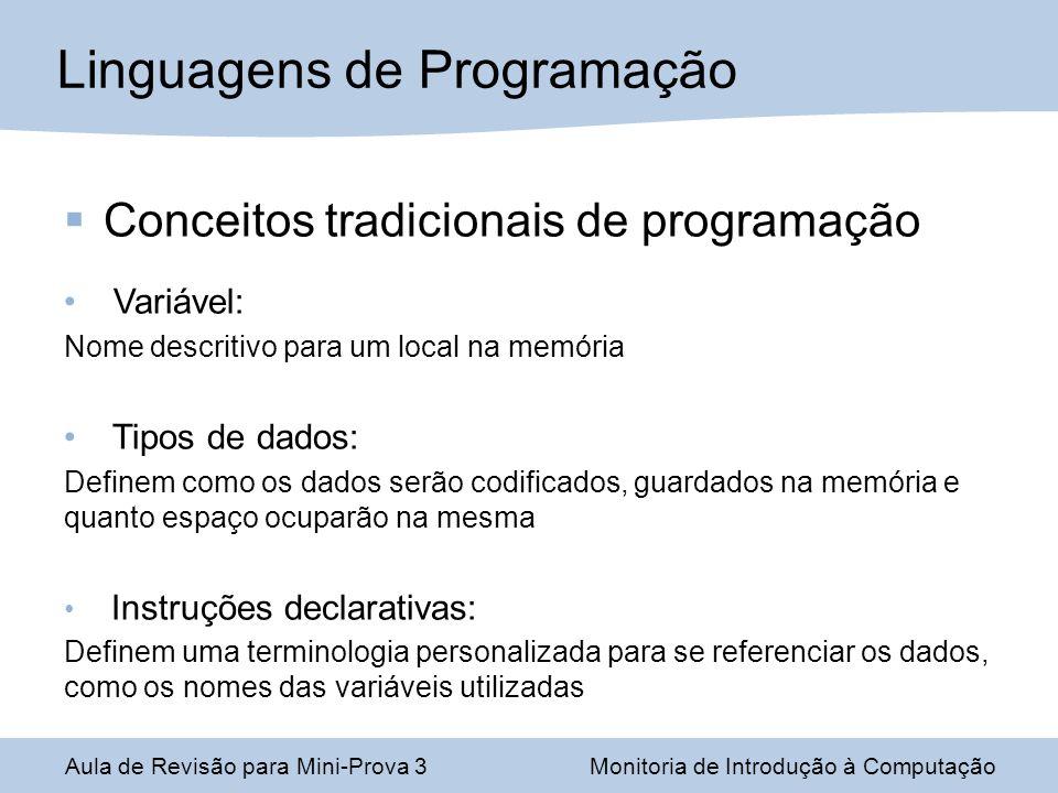 Conceitos tradicionais de programação Variável: Nome descritivo para um local na memória Tipos de dados: Definem como os dados serão codificados, guar