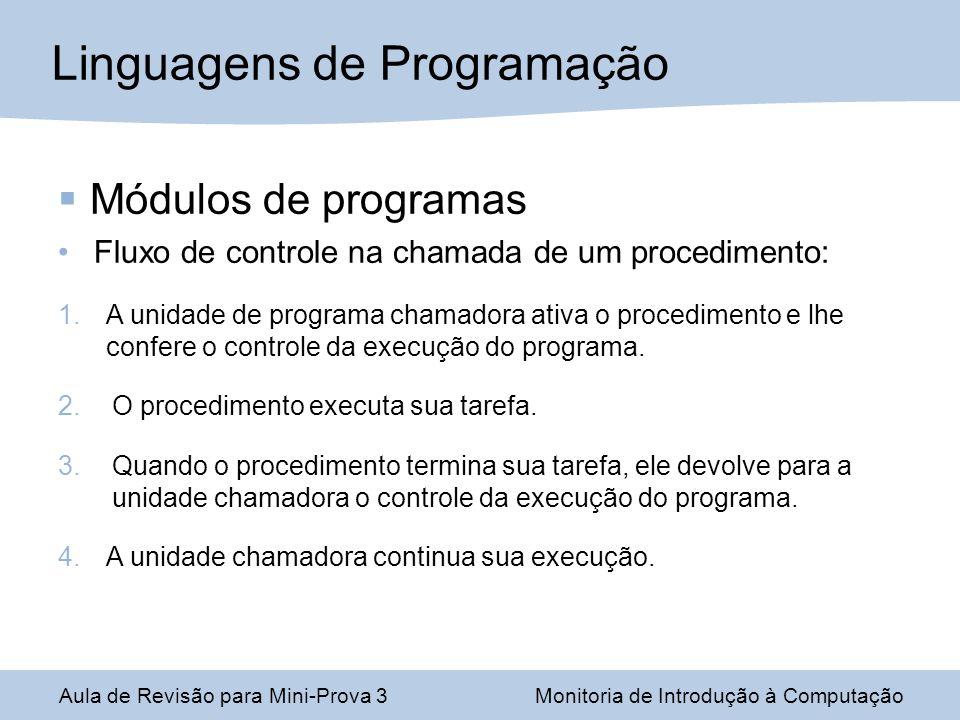 Módulos de programas Fluxo de controle na chamada de um procedimento: 1.A unidade de programa chamadora ativa o procedimento e lhe confere o controle