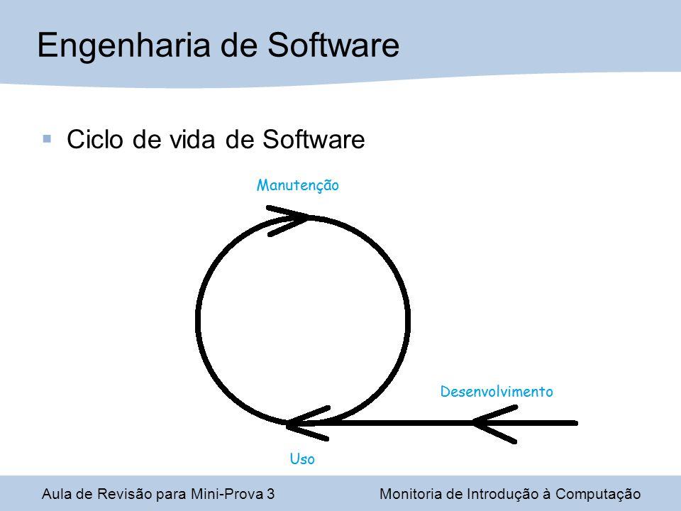 Ciclo de vida de Software Engenharia de Software Aula de Revisão para Mini-Prova 3Monitoria de Introdução à Computação