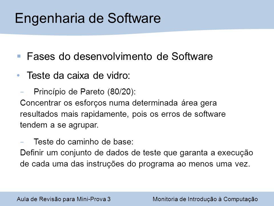 Engenharia de Software Aula de Revisão para Mini-Prova 3Monitoria de Introdução à Computação Fases do desenvolvimento de Software Teste da caixa de vi