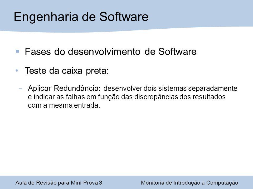 Engenharia de Software Aula de Revisão para Mini-Prova 3Monitoria de Introdução à Computação Fases do desenvolvimento de Software Teste da caixa preta