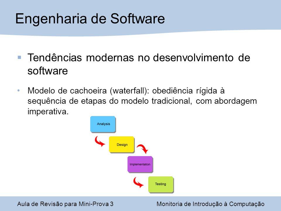 Engenharia de Software Aula de Revisão para Mini-Prova 3Monitoria de Introdução à Computação Tendências modernas no desenvolvimento de software Modelo