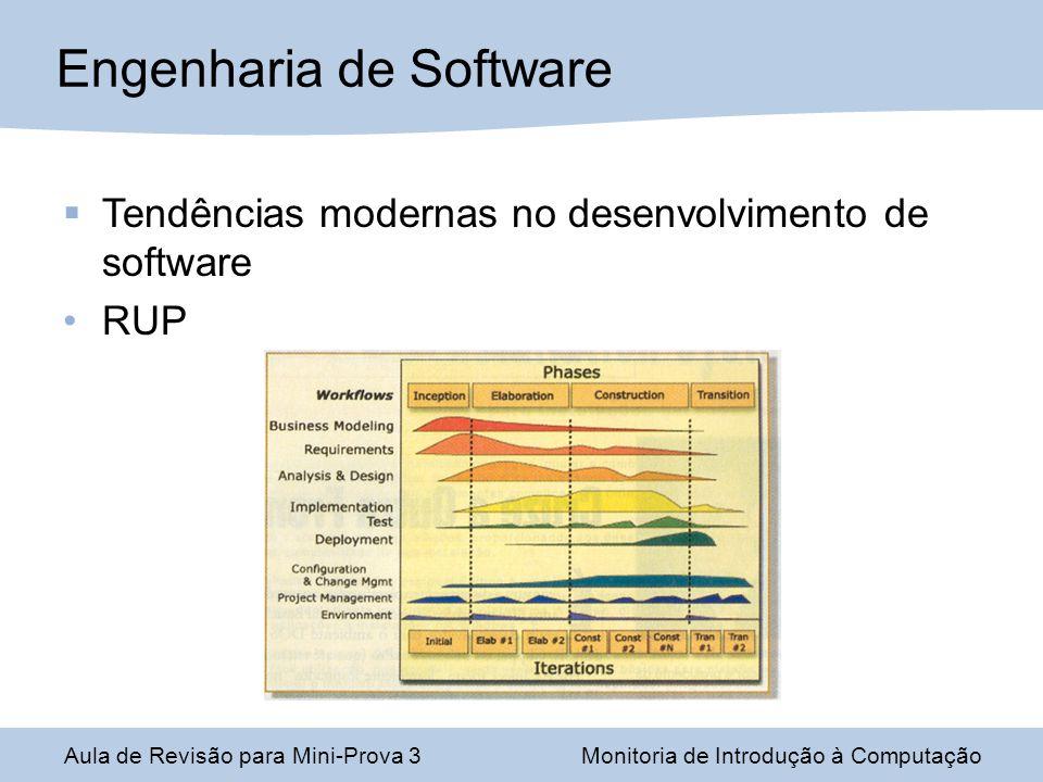 Engenharia de Software Aula de Revisão para Mini-Prova 3Monitoria de Introdução à Computação Tendências modernas no desenvolvimento de software RUP
