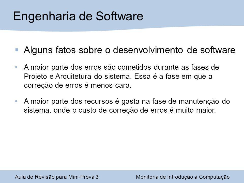 Alguns fatos sobre o desenvolvimento de software A maior parte dos erros são cometidos durante as fases de Projeto e Arquitetura do sistema. Essa é a