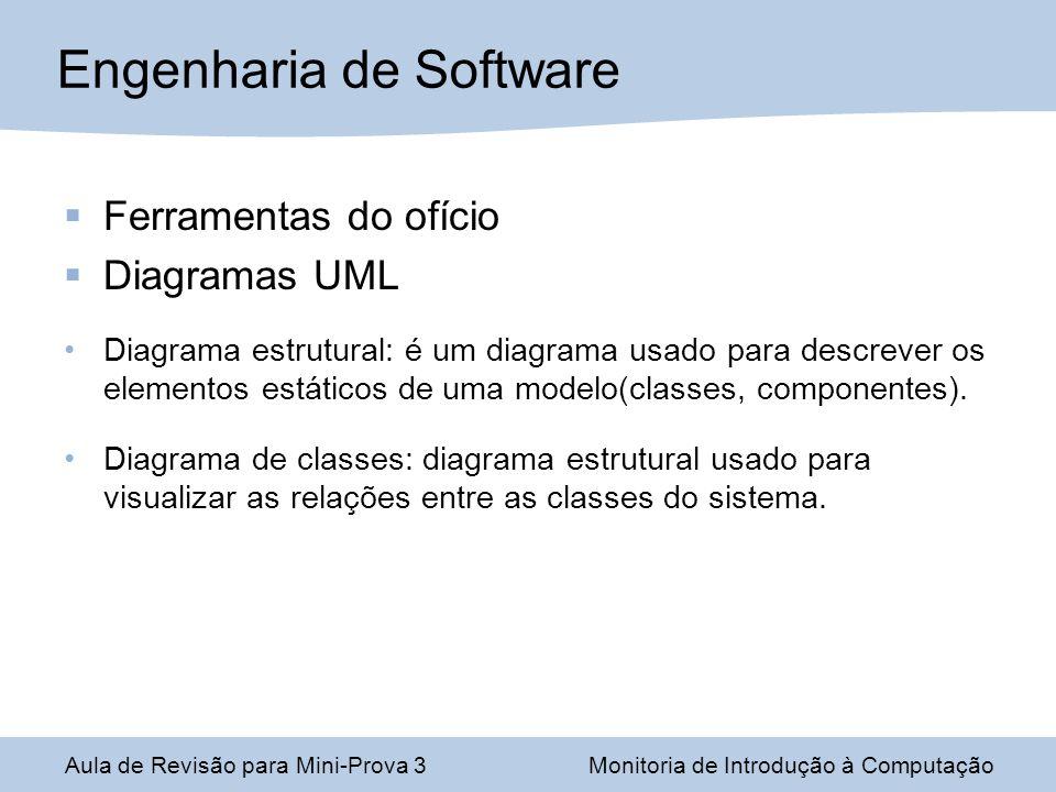Ferramentas do ofício Diagramas UML Diagrama estrutural: é um diagrama usado para descrever os elementos estáticos de uma modelo(classes, componentes)