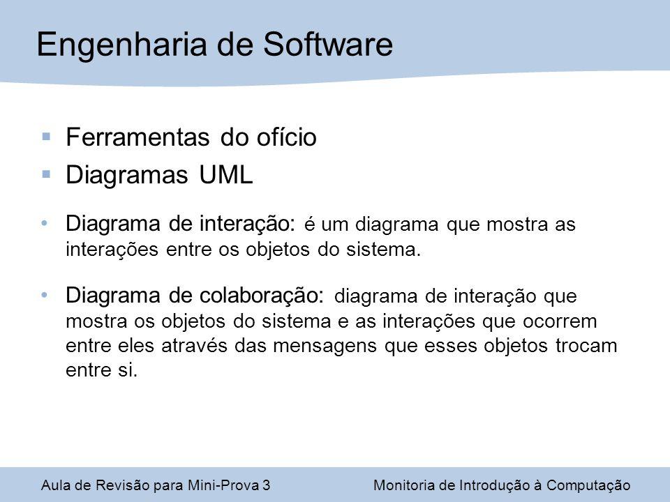 Ferramentas do ofício Diagramas UML Diagrama de interação: é um diagrama que mostra as interações entre os objetos do sistema. Diagrama de colaboração